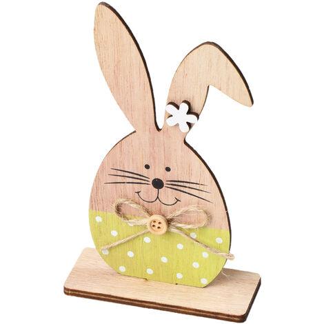 1PC adornos de madera Tabla Conejos de conejito de soporte Etiquetas con huevo de Pascua cinta de bricolaje Artesania de madera en decoraciones caseras, estilo 7