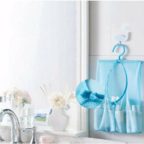 1pc Bathroom Storage Clothespin Mesh Bag Hanging Hooks Bag Savings Box Shower Bath Opberg Bakjes Voor Bathroom Hanging Bag Blue