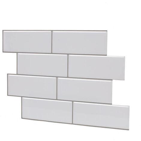 1PC Carrelage Autocollants 3D Brique Mur Autocollant Autocollant Salle De Bains Cuisine (Blanc, 8Pcs HB002)