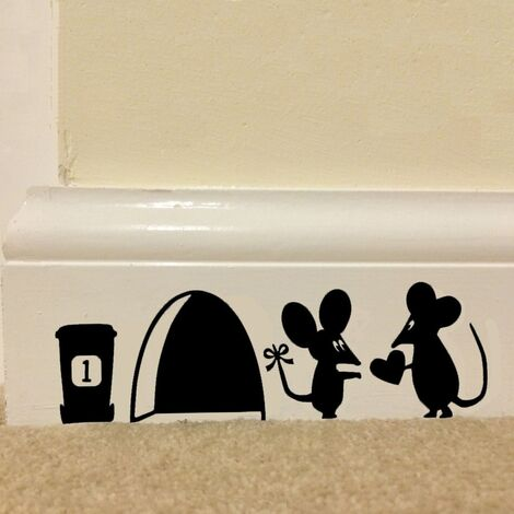 1Pc Cute Couple Mouse Mouse Hole Heart Wall Stickers Wallpaper Wall Stickers Vinyl Sticker Art Kids Room Home Decor Hasaki