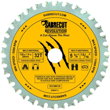 1pc SabreCut 136mm 32T Multi-Material Saw Blade - SCCSM136_32