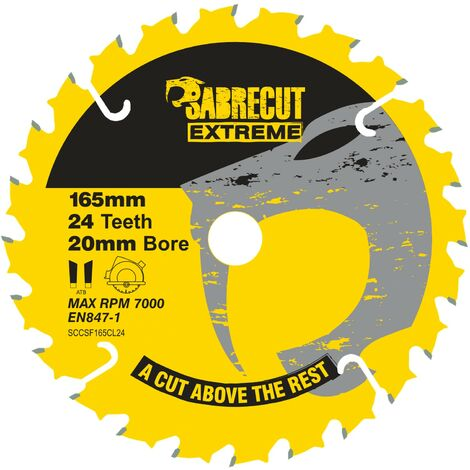 1pc SabreCut 165mm 24T Saw Circular Saw Blade - SCCSF165CL24