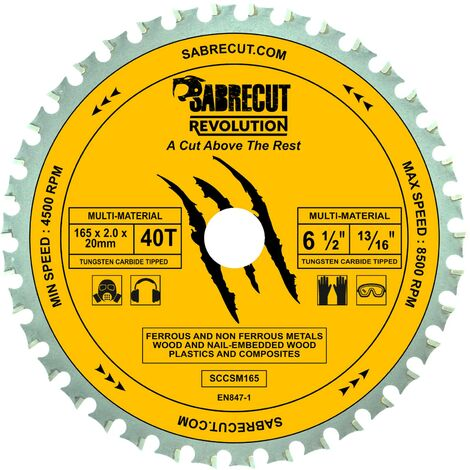 1pc SabreCut 165mm 40T Multi-Material Saw Blade - SCCSM165_40