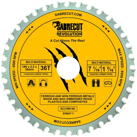1pc SabreCut 180mm 36T Multi-Material Saw Blade - SCCSM180_36