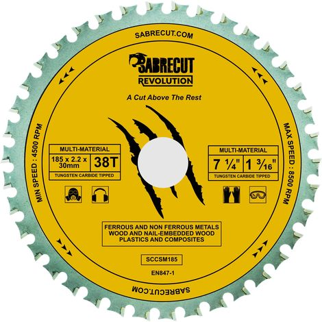 1pc SabreCut 185mm 38T Multi-Material Saw Blade - SCCSM185_38