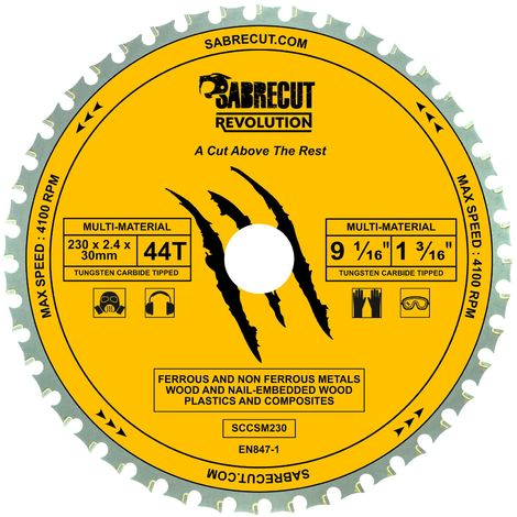 1pc SabreCut 230mm 44T Multi-Material Saw Blade - SCCSM230_44