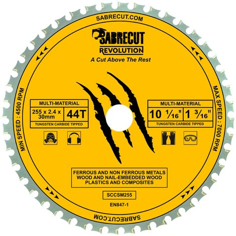 1pc SabreCut 255mm 44T Multi-Material Saw Blade - SCCSM255_44