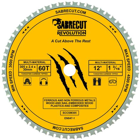1pc SabreCut 305mm 60T Multi-Material Saw Blade - SCCSM305_60