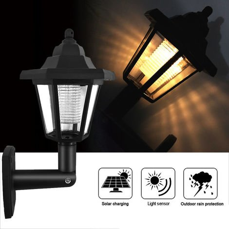 1Pc Solar Panel L-ED Sensor Wall Light Hexagon Lamp Path Way Garden Fence Lamp