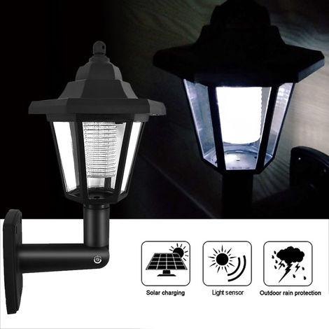 1Pc Solar Panel L-ED Sensor Wall Light Hexagon Lamp Path Way Garden Fence Lamp White