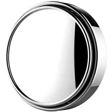 1Pc Voiture Mini Ronde Miroir Angle Mort Auxiliaire Retroviseurs Auxiliaire Rotation 360 ¡ã Grand Angle Convexe Miroir, Argent