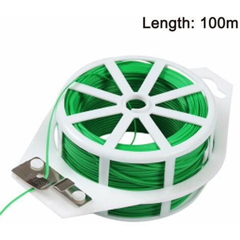 1pcs 328ft (100m) Twist Ties,Green Coated Garden Plant Ties with Cutter for Gardening and Office Organization, Home
