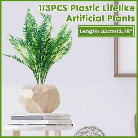 1PCS / 3PCS European Garden Symplify Style Artificial emulation Asparagus Fern Bush Foliage Green Leaves Wedding Living Room Office Decor (Only Artificial Ferns) (3 Pcs)