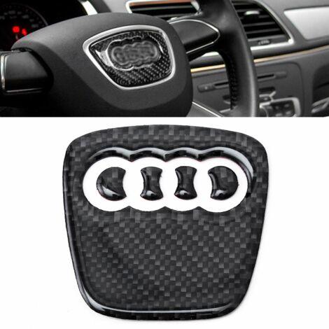 1pcs Carbon Fiber Steering Wheel Panel Trim Decor Emblem For Audi A4 S4 RS A5 Q5 Q3