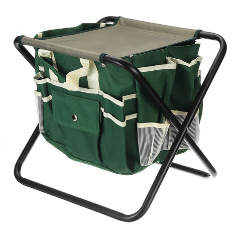 1Pcs Foldaway Chair Garden Tools with Canvas Storage Stool Pouch Set Tote Bag 31x39x34cm Green