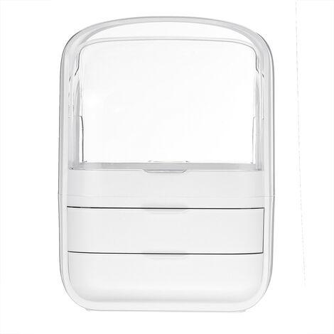 1PCS Makeup Organizer Modern Cosmetics Storage Box Waterproof Jewelry Holder Display 30x20x40cm White