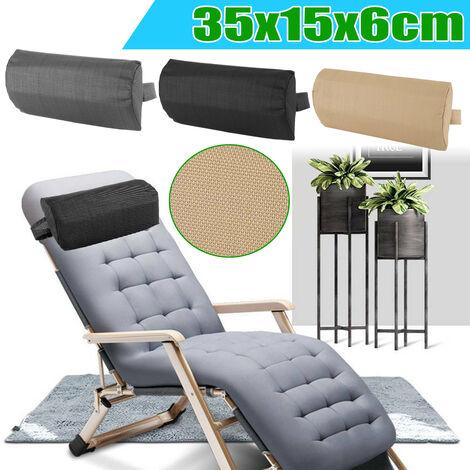 1PCS Outdoor Garden Folding Sun Loungers Reclining Headrest Pillow Black