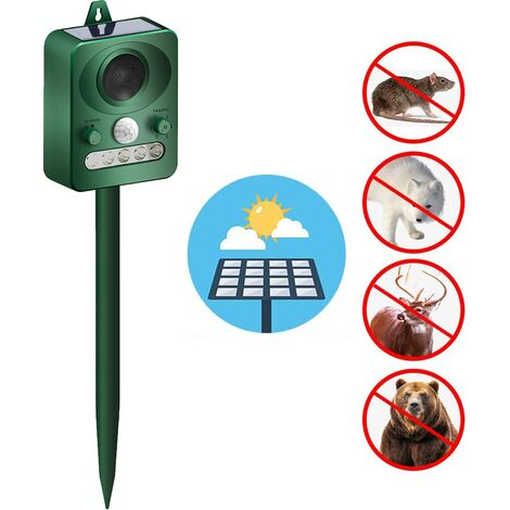 1pcs Outdoor Solar Ultrasonic Animal Repeller with Motion Sensor and Flash to Scare Away Rabbits, Squirrels, Foxes, Birds, Skunks, etc