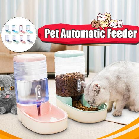1PCS Pet Automatic Feeder 1 Gallon Grande Capacité Matériaux Non-toxiques étanche Steady Chien Chat Distributeur D'eau Bol Alimentaire (Vert, Alimentateur)