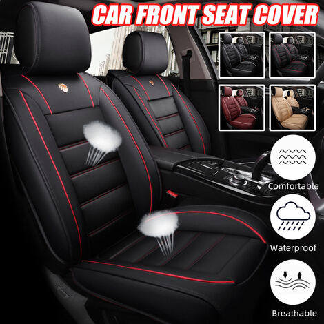 1PCS PU Leather Universal Car Front Seat Cover Protector Breathable Cushion (Red, Type B Red Black)