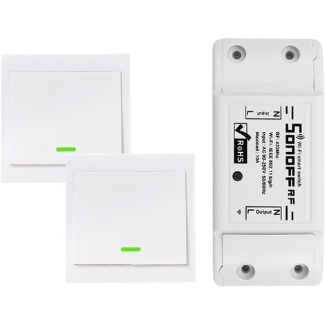 1PCS, RF Wifi Switch RF 433MHz, con 2PCS 1 Panel de interruptores de pandillas