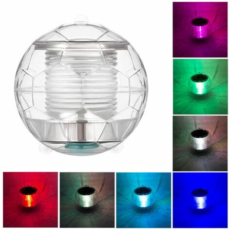 1pcs Solar Waterproof Pool Lights Floating Night Light with Color Changing for Swimming Pool Pond Fountain Garden Party Home Decor, football shape
