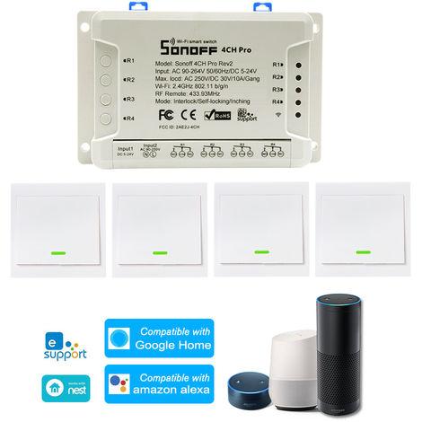 1PCS, SONOFF, 4CH Pro R2 ITEAD RF 433MHz 4 Gang, WiFI Switch, 3 modos de trabajo
