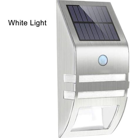 1pcs Stainless Steel Solar Motion Sensor Lights Outdoor Decorative Solar Powered LED Powered Security Lights Waterproof for Front Door Patio Deck Yard Garden Fence Porch, positive white light