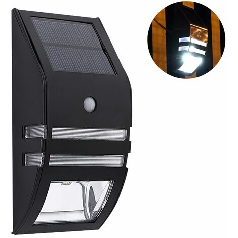1pcs Stainless Steel Solar Motion Sensor Lights Outdoor Decorative Solar Powered LED Powered Security Lights Waterproof for Front Door Patio Fence Porch, positive white light 6000-6500K