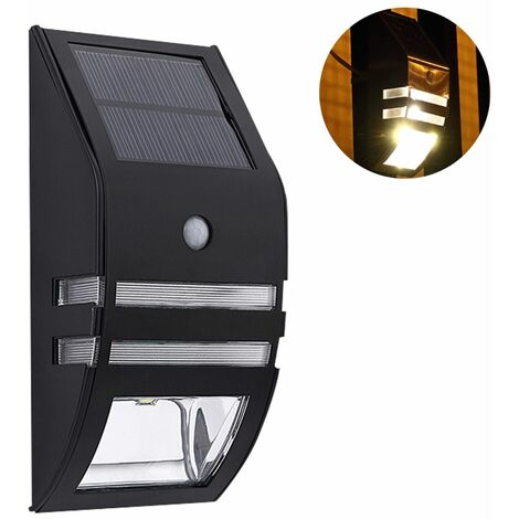 1pcs Stainless Steel Solar Motion Sensor Lights Outdoor Decorative Solar Powered LED Powered Security Lights Waterproof for Front Door Patio Fence Porch, warm white light 2800-3000K
