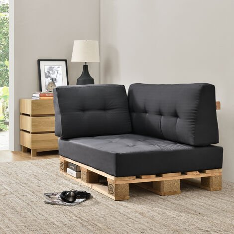 1x coussin d 39 angle en gris fonc pour int rieur et. Black Bedroom Furniture Sets. Home Design Ideas