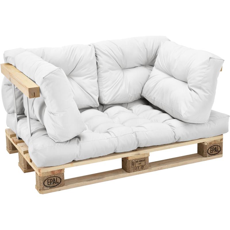 1x Coussin de Siège & 4x Coussin de dossier pour canapé euro-palette blanc coussin
