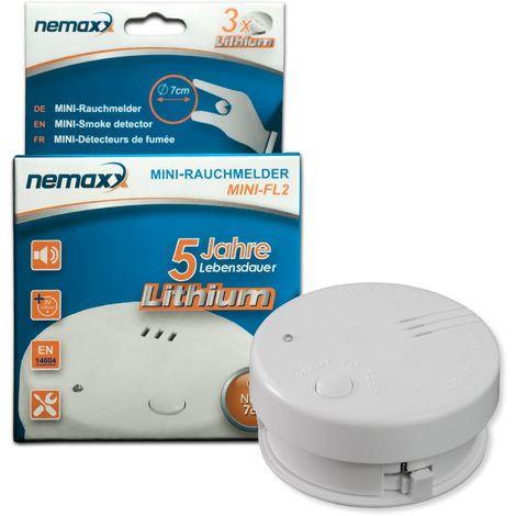 1x detector de humo Nemaxx Mini-FL2 Mini Detector de Fuego y humo detector con batería de litio de acuerdo con la norma DIN EN 14604
