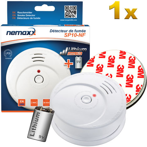 1x Detector de humo Nemaxx SP10-NF Blanco - Detector de humo de alta calidad con la sensible tecnología fotoeléctrica de acuerdo con DIN EN 14604 con certificado NF + 1x Fijación magnético