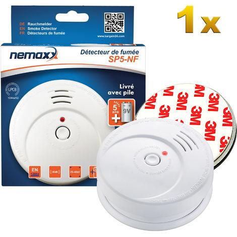 1x Detector de humo Nemaxx SP5-NF Blanco - Detector de humo de alta calidad con la sensible tecnología fotoeléctrica de acuerdo con DIN EN 14604 con certificado NF + 1x Fijación magnético