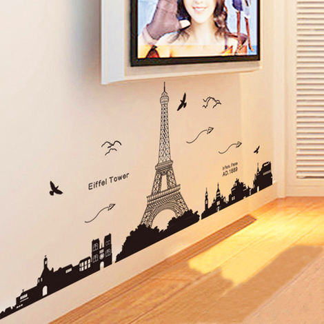 1X DIY Wall Sticker Removable Eiffel Tower Wall Sticker Tour Paris Wallpaper For Living Room Bedroom