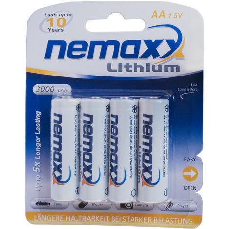 1x emballage-coque (4 piles) Nemaxx 1.5V AA batterie au lithium pour les détecteurs de fumée 10 ans durée de vie