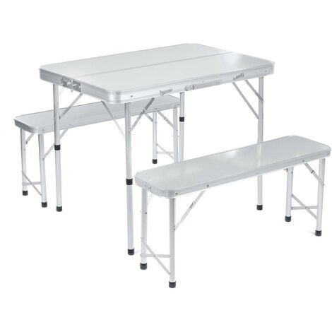 1X Folding Table W/ 2 Bench Chair Stool Seat Set Silver