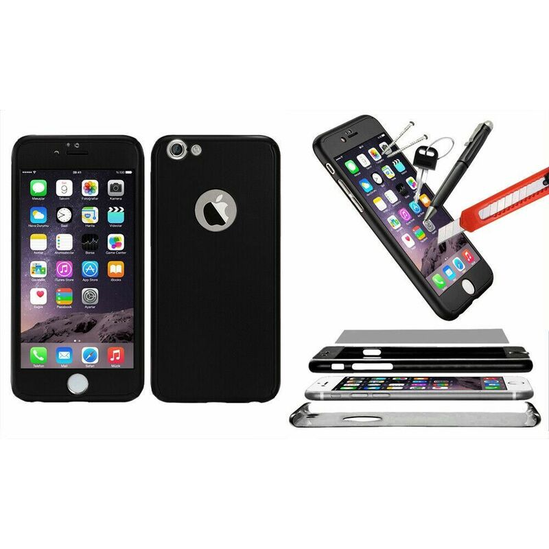 Image of 1x Hybrid 360 New Shockproof Case Tempered Glass Cover For iPhone 7 - Black