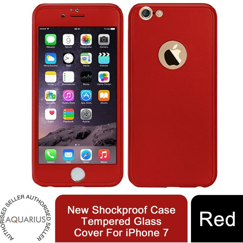Image of 1x Hybrid 360 New Shockproof Case Tempered Glass Cover For iPhone 7 - Red