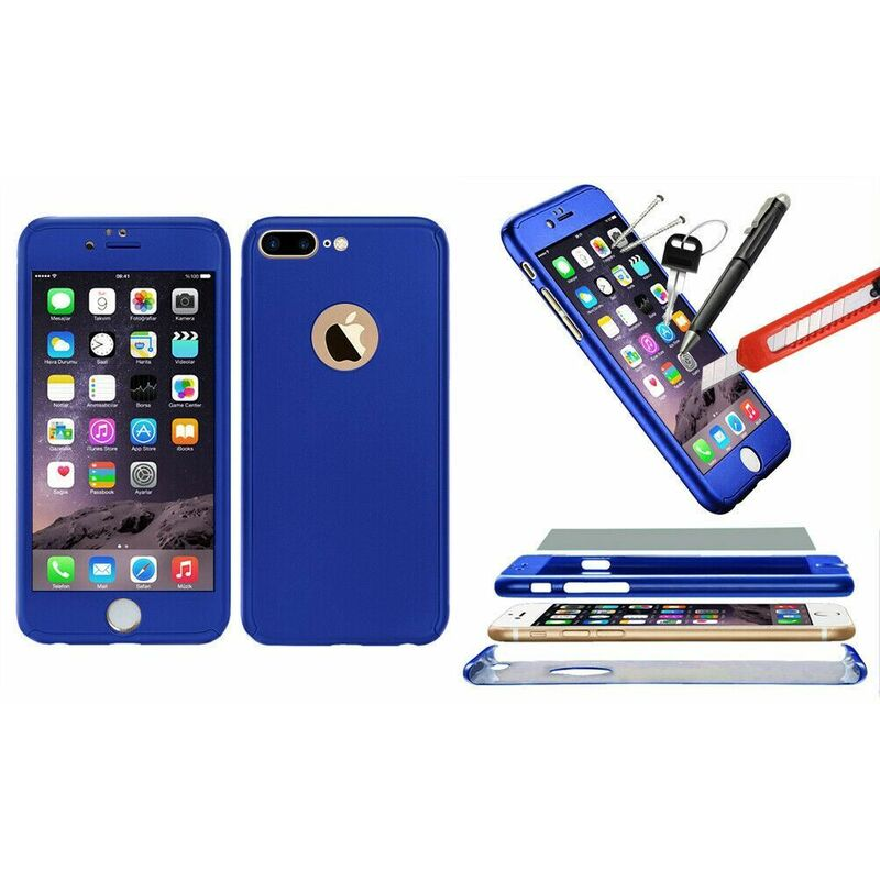 Image of 1x Hybrid 360 New Shockproof Case Tempered Glass Cover For iPhone 8+ - Blue