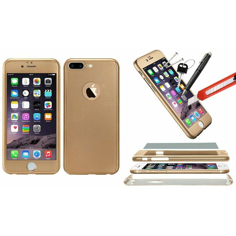 Image of 1x Hybrid 360 New Shockproof Case Tempered Glass Cover For iPhone 8+ - Gold