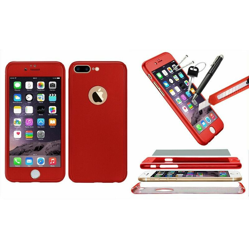 Image of 1x Hybrid 360 New Shockproof Case Tempered Glass Cover For iPhone 8+ - Red