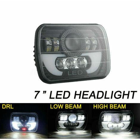 1x LED Phare Avant 7x6 5X7 120W Phare Halo DRL et Indicateur de Direction Pour 86-95 Jeep Wrangler YJ 84-01 Cherokee XJ