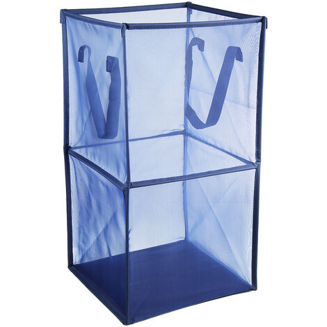 1x Mesh Basket Storage Laundry Bag Net Washing Basket Foldable Hamper Toy Cloth blue Double Layer 32x32x64cm