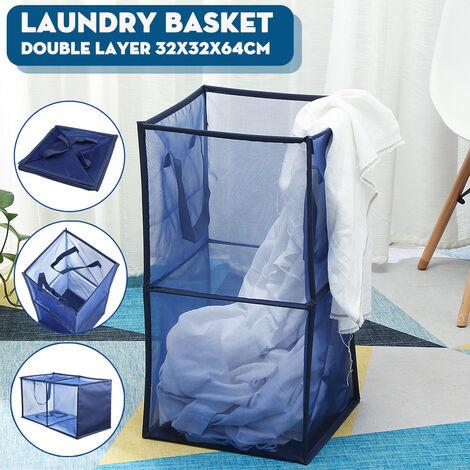 1x Mesh Storage Basket Laundry Bag Mesh Washing Basket Foldable Cloth Toy Basket (Blue, Double Layer)