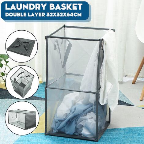 1x Mesh Storage Basket Laundry Bag Mesh Washing Basket Foldable Cloth Toy Basket (Gray, Double Layer)
