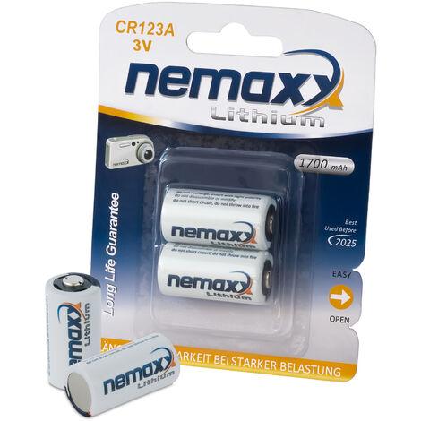 1x Nemaxx 3V Photo Lithium Batterie CR123A Photobatterie mit 1700mAh Fotobatterie Photo-Batterie