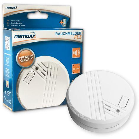 1x Nemaxx detector de humo FL2 - según la norma EN 14604 con tecnología fotoeléctrica sensible e inalámbrica!