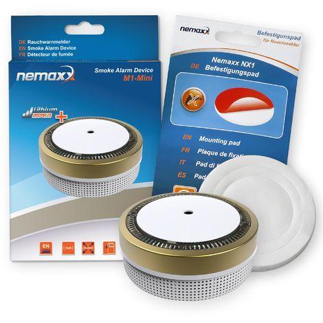 1x Nemaxx Detector de humo M1-Mini sensibilidad fotoeléctrica - con batería de litio tipo DC3V - conforme la norma DIN EN14604 & Vds - dorado + NX1 Pad de fijación